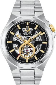 Bulova Watch Maquina Mens #add-content #allow-discount-yes #basel-20 #bezel-fixed #bracelet-strap-steel #brand-bulova #case-depth-12-6mm #case-material-steel #case-width-46mm #delivery-timescale-call-us #dial-colour-black #fashion #gender-mens #movement-automatic #new-product-yes #official-stockist-for-bulova-watches #packaging-bulova-watch-packaging #sale-item-no #style-dress #subcat-maquina #supplier-mode Stainless Steel Bracelet, Stainless Steel Case, Bulova Watches, Automatic Watches For Men, Sport Watches, Watch Brands, Luxury Watches, Stylish Watches, Sport Fashion