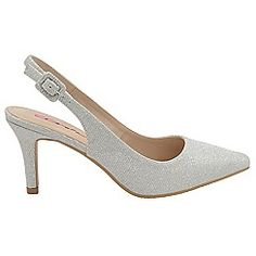Silver 'Annette' stiletto heeled ladies shoes