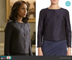 Olivia's blue crocodile textured jacket on Scandal. Outfit Details: http://wornontv.net/53412/ #Scandal