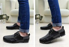 Stylish Lace-Up and Splice Design Casual Shoes For Men
