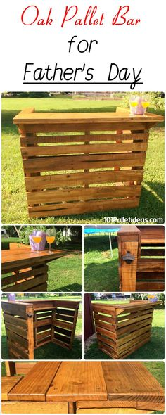 Oak Pallet Bar for Father's Day | 101 Pallet Ideas - pallet father's day ideas -  #pallets #palletwood #fathersdaygiftideas #fathersday