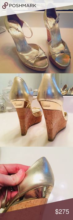 Authentic Gucci gold wedges These gorgeous wedges are in great condition! Small scuff on the heel that is barely noticeable. Gucci Shoes Wedges