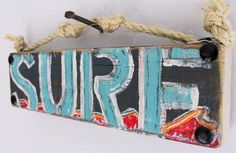 Surf Beach Sign Wooden Gently Distressed Reclaimed Wood Shark Week Surfer Coastal Surf Nursery Birthday Party Decor