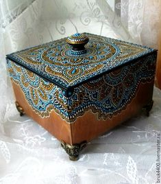"""Купить шкатулка """"Гамаиля"""" точечная роспись - комбинированный, шкатулка, короб, шкатулка для украшений"""
