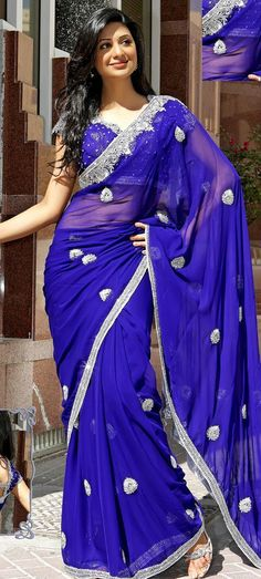 Blue Faux Georgette Wedding Saree 16135 With Unstitched Blouse