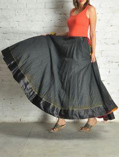 #black #mukaish #skirt #jaypore