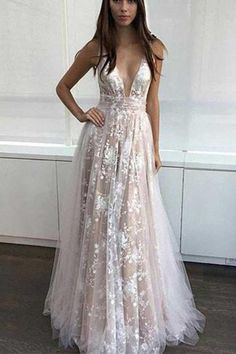A-Line Deep V-Neck Champagne Tulle Backless Prom Dress with Lace 89800db94