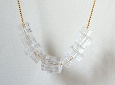 Lasercut Crystal Clear Acrylic Necklace - Translucent Laser Cut Custom Beads - Long Gold Chain - Modern Jewelry