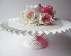Vintage Fenton Milk Glass Hobnail Classic Cake Stand