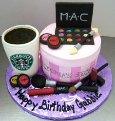 MAC Make-up Cake. Make-up Cake. Teen Cakes, Girly Cakes, Cute Cakes, Starbucks Cake Pops, Birthday Cakes For Men, Cake Birthday, 21st Birthday, Birthday Ideas, Teenage Girl Cake