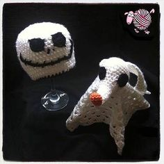 Crochet Jack Skellington Beanie & Zero Lovey - Dearest Debi Patterns - The cutes Nightmare before Christmas newborn photography props. Crochet Lovey, Crochet Cross, Crochet Dolls, Free Crochet, Knit Crochet, Learn Crochet, Crochet Things, Halloween Crochet, Holiday Crochet