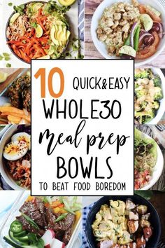 10 quick & easy meal prep bowl ideas to get you out of your meal prep rut! These simple and healthy recipes are all paleo and compliant! Here's to clean eating! 10 quick & easy meal prep bowl ideas to get you out of your meal prep rut! These simple and … Meal Prep Bowls, Easy Meal Prep, Healthy Meal Prep, Quick Easy Meals, Healthy Cooking, Healthy Eating, Quick Healthy Meals, Ketogenic Diet Meal Plan, Diet Meal Plans
