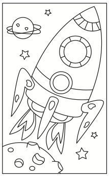 Space Rocket Coloring Pages For Kids Printable Colouring Sheets