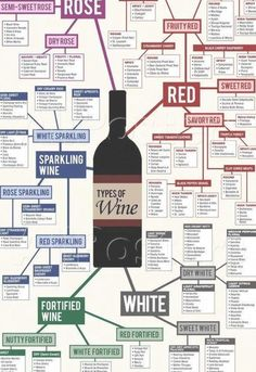 Types of Wine Chart Poster 13 x Different Types Of Wine, Wine Chart, Wine Guide, Wine Deals, Wine Parties, Wine Tasting Party, In Vino Veritas, Wine Cheese, Wine List
