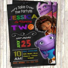 Home movie Invitation, dreamwork movie invitation, Oh, Home 2015 invitation, Home birthday invitation by 3lileagles on Etsy