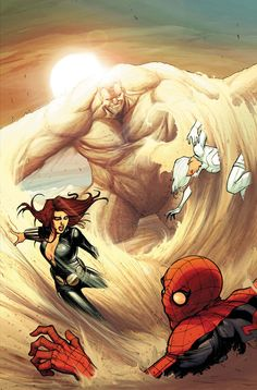 Sandman vs Spider-Man, Black Widow and Silver Sable
