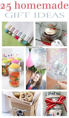 25 homemade gift ideas.  There are some great ideas!