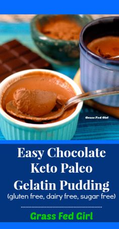 Easy Chocolate Keto Paleo Gelatin Pudding (gluten free, dairy free, sugar free) Grass Fed Girl