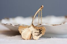Ginkgo Leaf Necklace Fall Accessories Antiqued Matte Gold Plated Autumn Leaf - N128. $23.00, via Etsy.