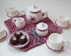 crocheted- Teapot, teacups and saucers | Amigurumi Tea Set Crochet Pattern PDF | NeedleNoodles: Crochet