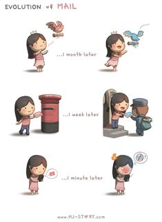 HJ-Story :: Evolution of Mail - image 1 Cute Couple Cartoon, Chibi Couple, Cute Love Cartoons, Cute Cartoon, Hj Story, Cute Love Stories, Love Story, Romantic Quotes, Love Quotes