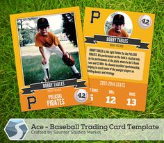 Ace Baseball Trading Card  2.5 x 3.5 Photoshop by SaunterStudios, $10.00