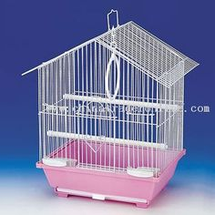 small pink & white birdcage