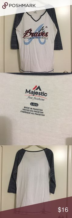 Atlanta Braves raglan 3/4 sleeve Tshirt🎉 Atlanta Braves raglan 3/4 sleeve Tshirt sleeves in a heather blue color Majestic Tops Tees - Short Sleeve