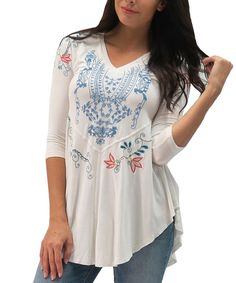 Another great find on #zulily! Caite Ivory Embroidered Lanie Tunic - Women & Plus by Caite #zulilyfinds