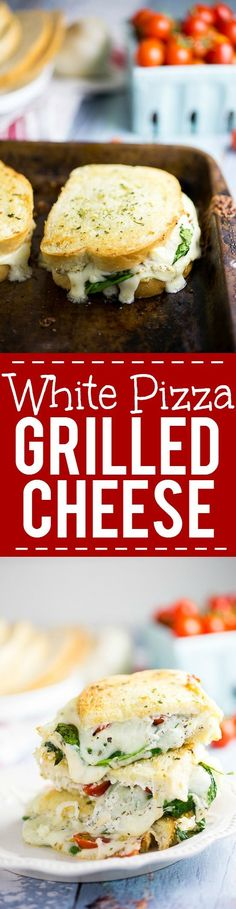 Oven Baked 5 Cheese White Pizza Grilled Cheese Recipe -Baked in the oven to golden, gooey perfection, this deluxe 5 Cheese White Pizza Grilled Cheese is the ultimate cheesy sandwich with 5 types of real cheese, a garlic herb ricotta spread, garlic butter