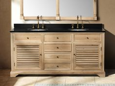 Natural Oak Finish Double Vanity. Great Bathroom Ideas