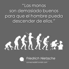"""""""Los monos son demasiado buenos para que el hombre pueda descender de ellos.""""  Friedrich Nietzsche"""