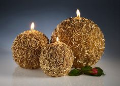 Carved candles - christmas candle - large candles - wedding candles - home decor - gold candles