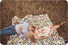Engagement photos (love the cathedral window quilt!!!)