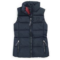 Tommy Hilfiger Downtown Puffer Vest ($100) ❤ liked on Polyvore featuring outerwear, vests, blue puffer vest, pocket vest, blue puffy vest, zipper vest and zip vest
