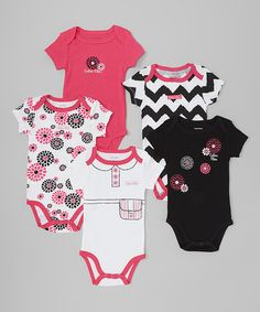 Take+a+look+at+this+Black+&+Pink+Flower+Bodysuit+Set+-+Infant+on+zulily+today!
