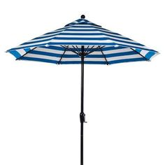 Frankford Umbrellas 9' Market Umbrella Fabric: Blue and White Stripe, Pole Type: Black Coated Aluminum Pole