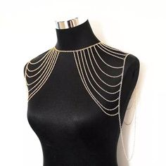 Shoulder Jewelry, Shoulder Necklace, Body Chain Jewelry, Punk Jewelry, Chain Necklaces, Cheap Jewelry, Jewelry Sets, Gold Bodies, Multi Layer Necklace