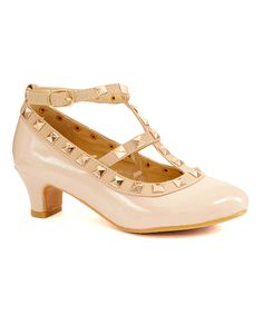 Look at this Adorababy Beige Studded T-Strap Dressy Shoe on #zulily today!
