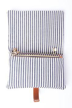 striped clutch.
