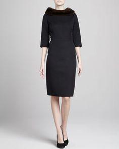 Mink Fur-Collar Three-Quarter-Sleeve Dress by Carolina Herrera at Neiman Marcus. My dream dress!