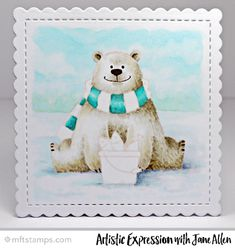 Colored panel from Jane Allen featuring Birdie Brown Polar Bear Pals stamp set and Stitched Mini Scallop Square STAX Die-namics #mftstamps