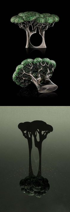 "VLAD GLYNIN jewellery - Ring ""Pinus"", 2015. White gold, tsavorites, black rhodium / Кольцо ""Pinus"", 2015 г. Белое золото, цавориты, чёрный родий / Anello ""Pinus"", 2015. Oro bianco, tsavoriti, rodio nero"