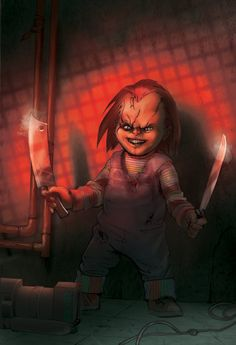 "Horror Movie Art : Child's ""Chucky"" by bearmantooth @ deviantart Horror Icons, Horror Films, Horror Art, Clown Horror, Childs Play Chucky, Creepy Dolls, Scary Movies, Kids Playing, Artist"