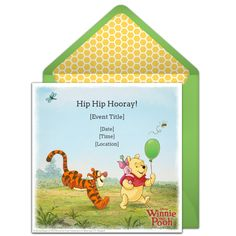 Customizable, free Winnie the Pooh online invitations. Easy to personalize and send for a Winnie the Pooh birthday party or Winnie the Pooh baby shower. #punchbowl