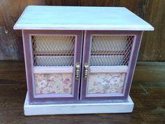 Vintage Jewelry Armoire, Pink Jewelry Box, Upcycled Wooden Jewelry Box by ModBugDeco on Etsy https://www.etsy.com/listing/541875015/vintage-jewelry-armoire-pink-jewelry-box