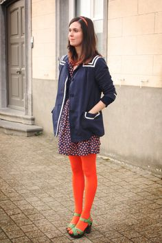 Discover this look wearing Tights, Dresses, Clogs tagged real cute - Neon Bright by Annebeth styled for Vintage, Everyday in the Spring Orange Tights, Colored Tights Outfit, Fit N Flare Dress, Outfit Combinations, Tight Leggings, Tight Dresses, What I Wore, Look, Cool Outfits