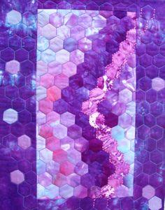Robbie P. Hexagon pieced quilt in hand dyes. http://robbiespawprints.blogspot.com/
