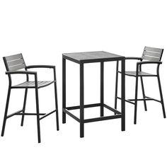 Maine 3 Piece Outdoor Patio Dining Set EEI-1754