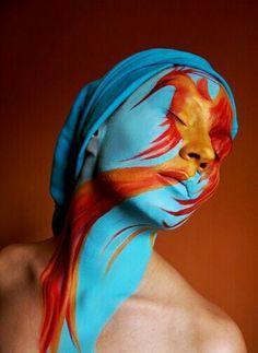 True Makeup Art, Phoenix by Ivana Ranisavljevic Dragon Halloween, Theatrical Makeup, Painting Tattoo, Make Up Art, Fantasy Makeup, Creative Makeup, Great Pictures, Face Art, Portrait